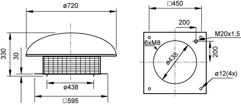 Габаритные размеры крышных вентиляторов Systemair DHS sileo 400DS ErP