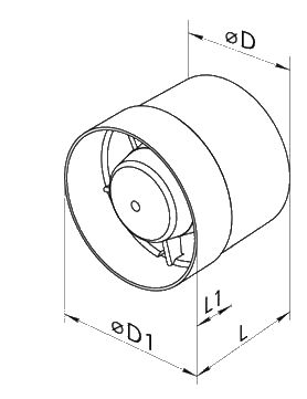 габаритные размеры для вентилятора Вентс 125 ВКО турбо