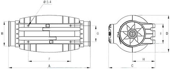 Габаритные размеры Soler&Palau TD-500/150-160 SILENT**